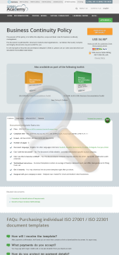 Business Continuity Policy Iso Template English preview. Click for more details