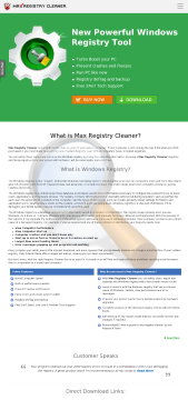 Max Registry Cleaner Get Spyware Detector Half Price preview. Click for more details