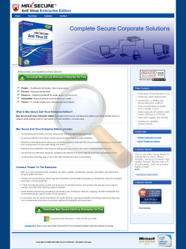Max Secure Anti Virus Enterprise Edition Full Version preview. Click for more details